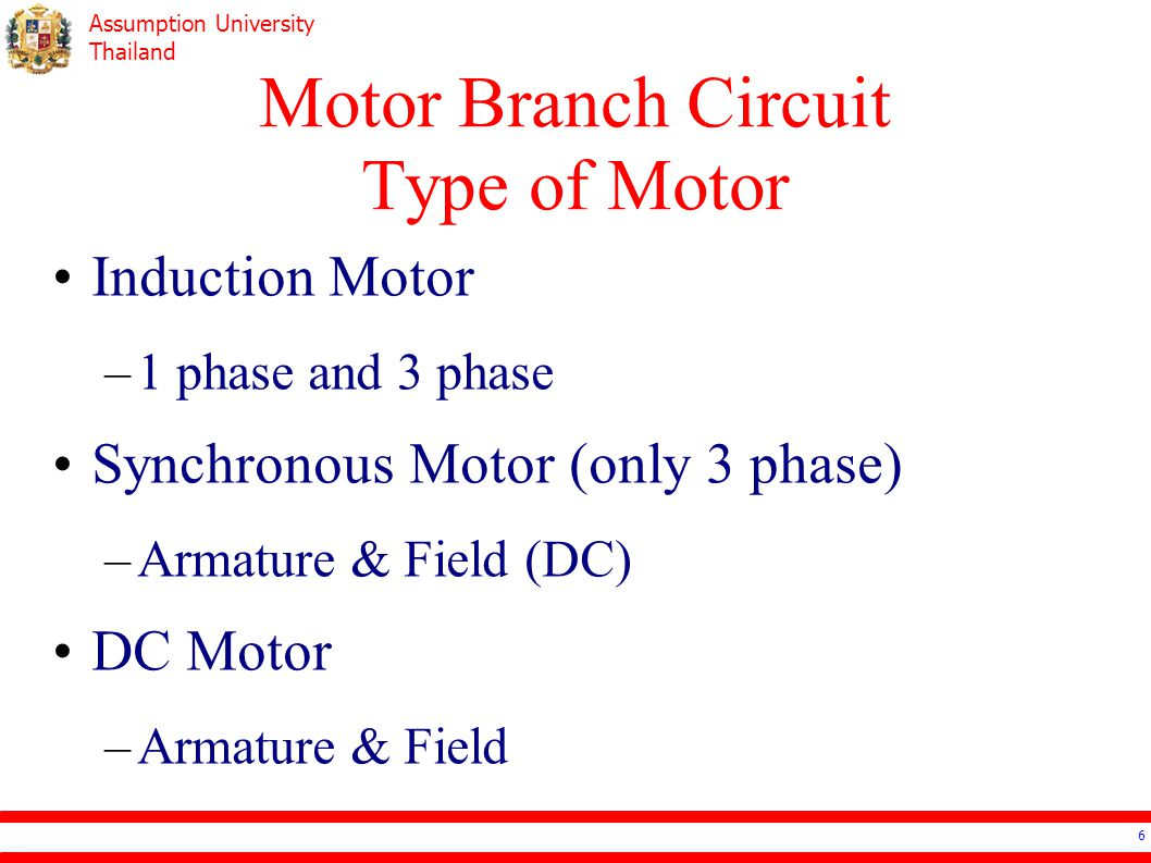 Motor Branch Circuit Type of Motor