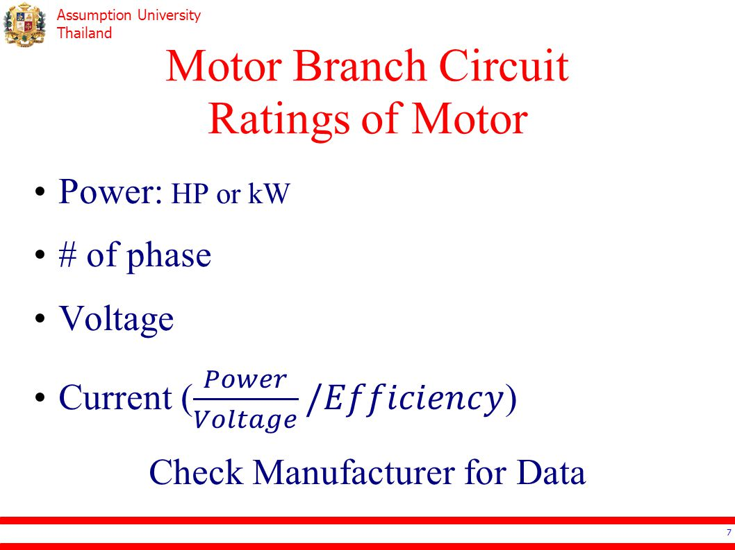 Motor Branch Circuit Ratings of Motor