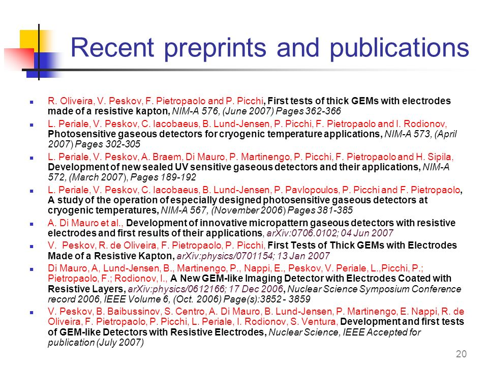 Recent preprints and publications