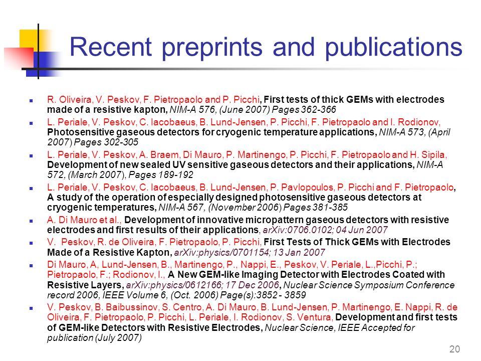 Recent preprints and publications