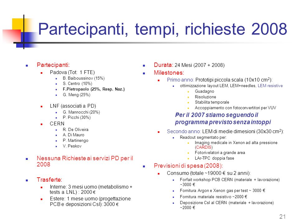 Partecipanti, tempi, richieste 2008