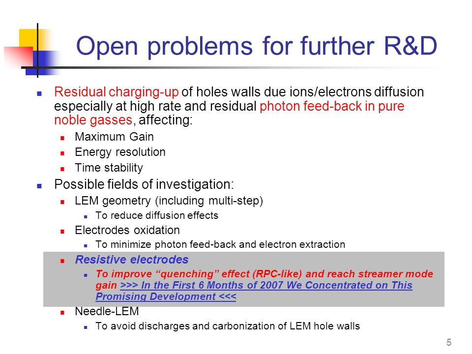 Open problems for further R&D