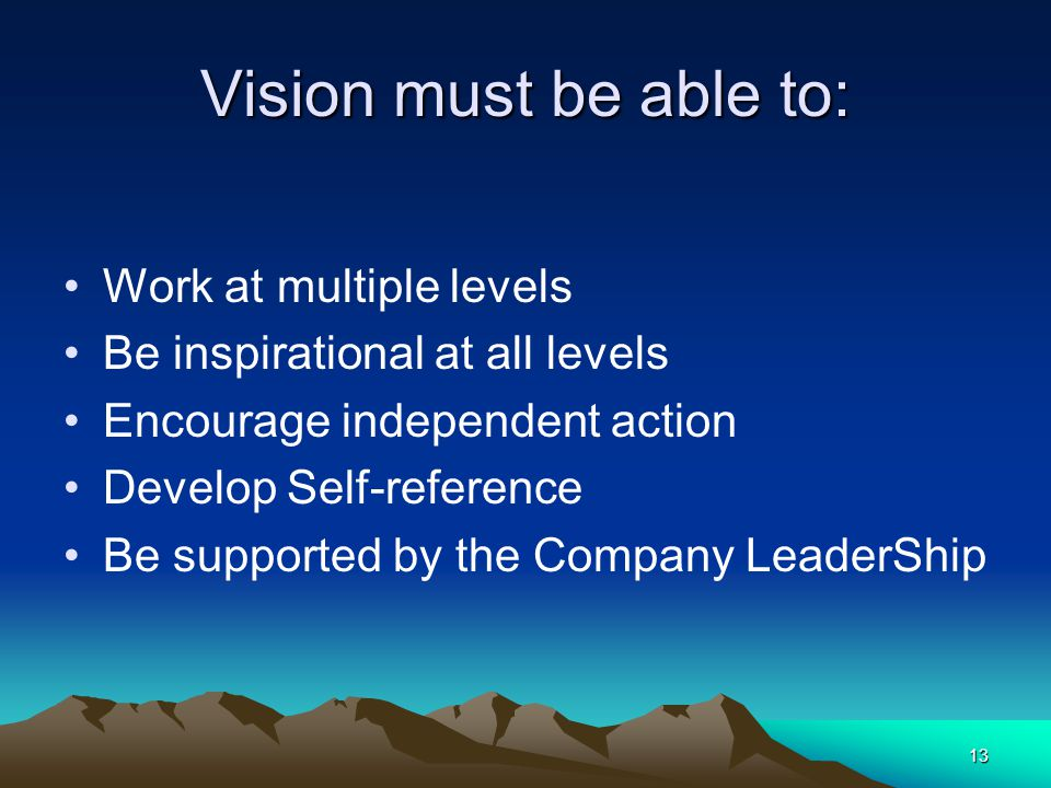 Vision must be able to: Work at multiple levels