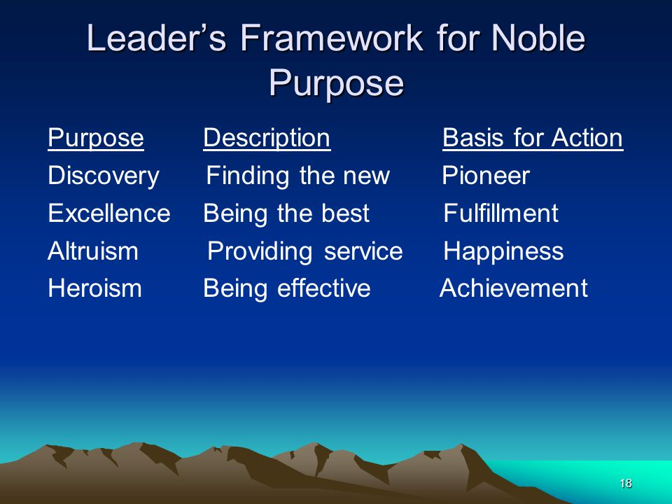 Leader's Framework for Noble Purpose