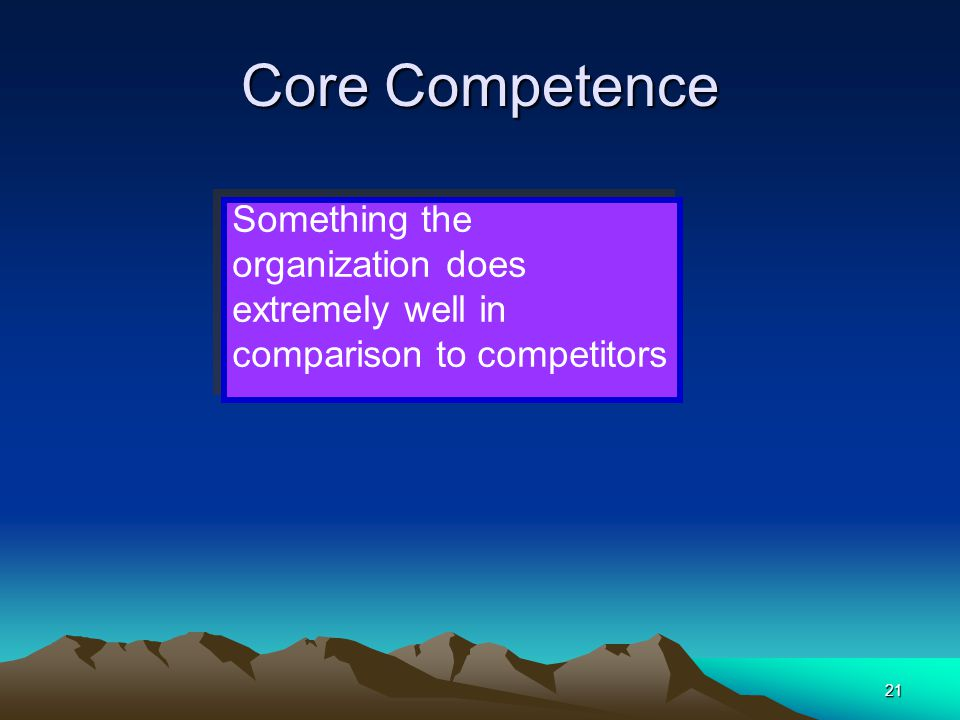 Core Competence Something the organization does extremely well in comparison to competitors