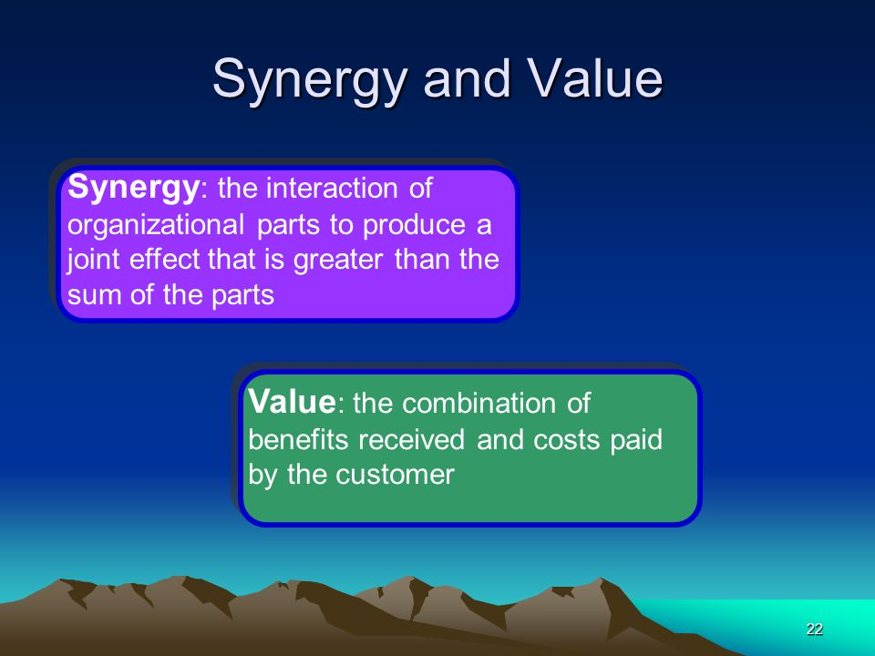 Synergy and Value Synergy: the interaction of organizational parts to produce a joint effect that is greater than the sum of the parts.