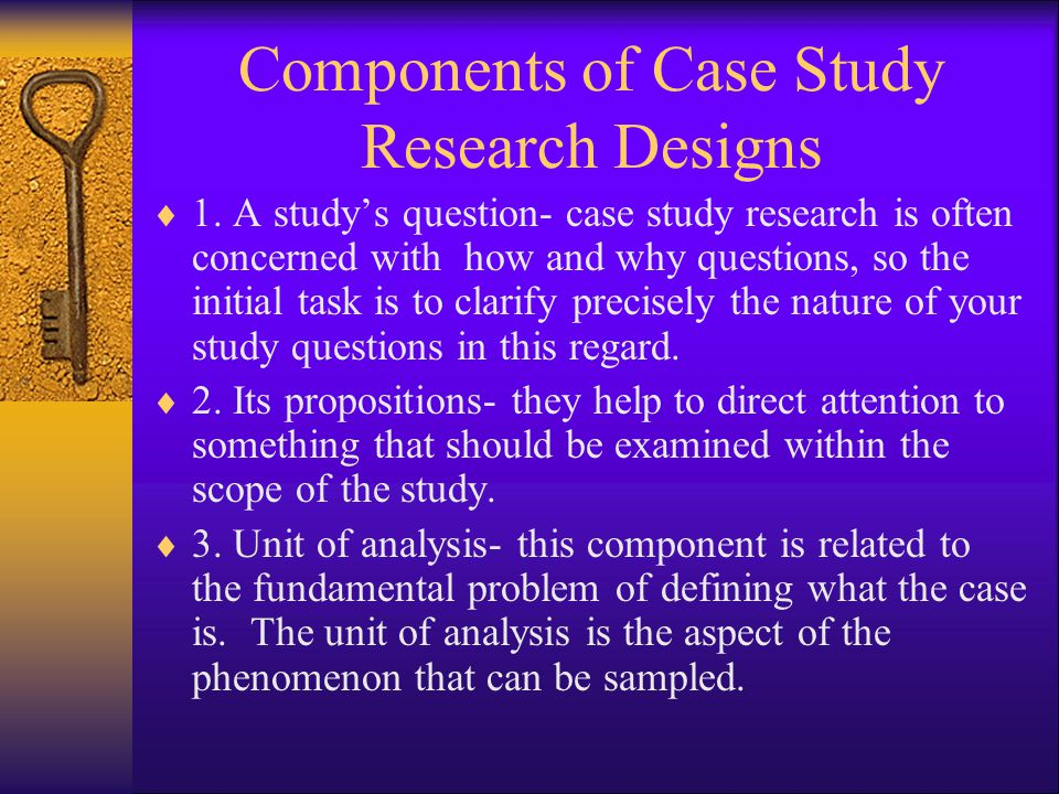 Components of Case Study Research Designs