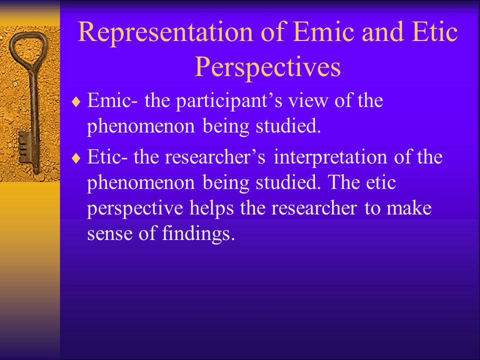 Representation of Emic and Etic Perspectives