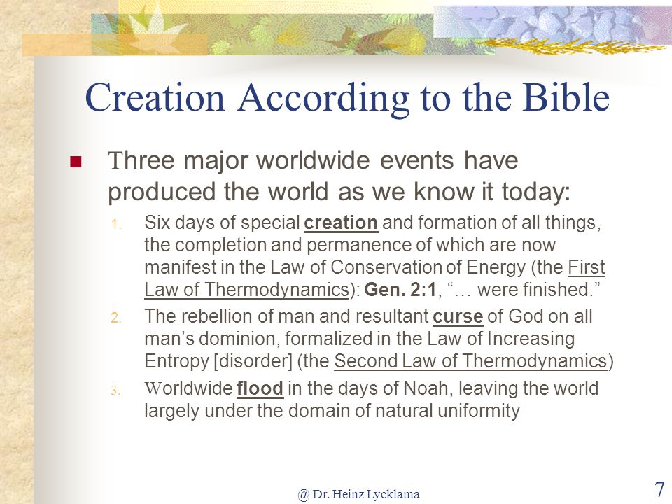 What year was the world created according to the Bible?