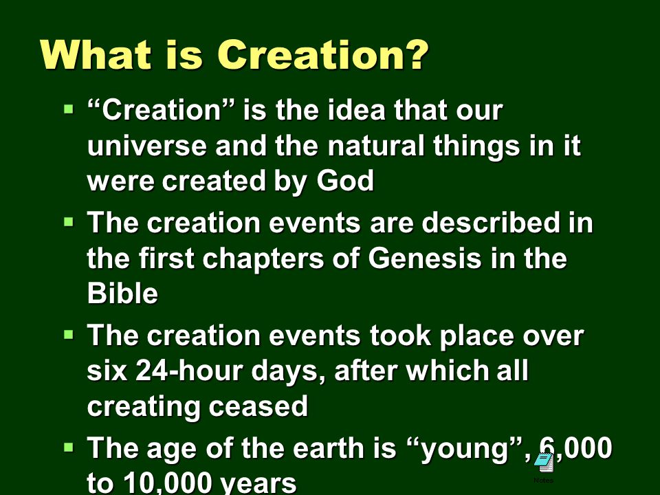 a description of creationist believe that god created the universe in six days and rested on the sev A secondary school revision resource for gcse religious studies looking at the beliefs about creation god probably only created universe were created.