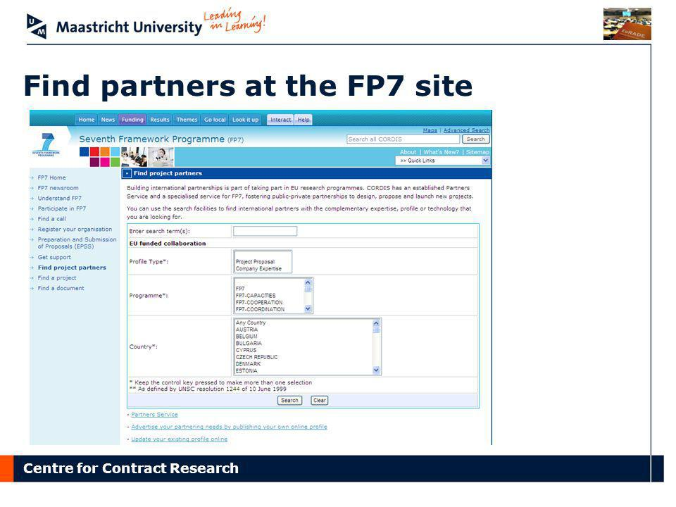Find partners at the FP7 site