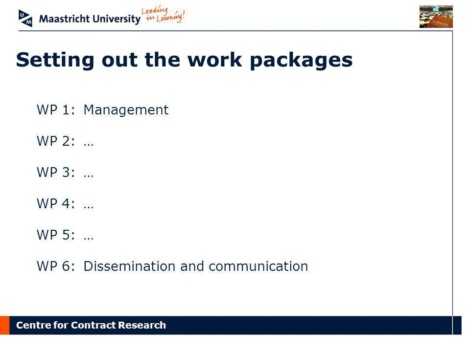 Setting out the work packages