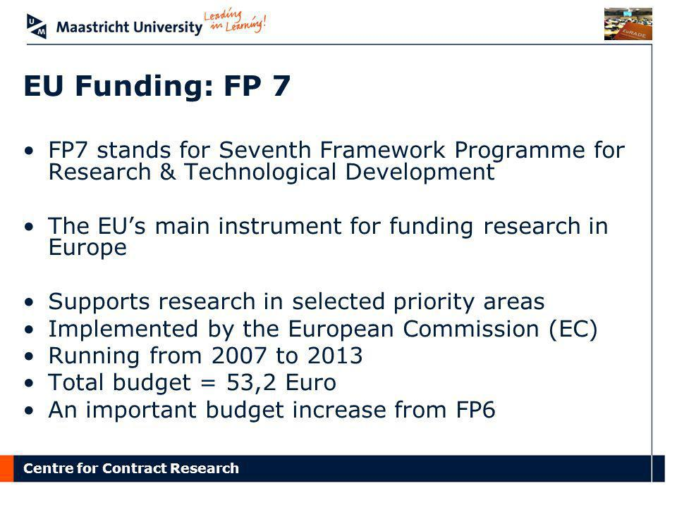 EU Funding: FP 7 FP7 stands for Seventh Framework Programme for Research & Technological Development.