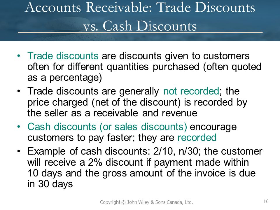 accounts receivable and cash discount Journal reference pulled from configuration (document default) or user enters custom reference in version 6 the cash, suspense, and discounts taken general ledger accounts are defined on the blackbaud systems tab of bank accounts unlike accounts payable, once a transaction is posted in accounts receivable,.