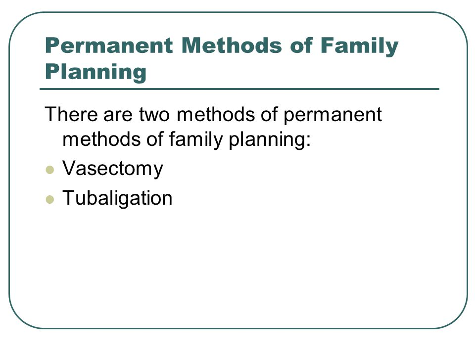 Permanent Methods of Family Planning