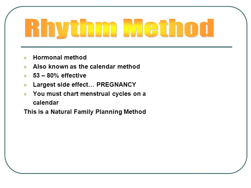 Rhythm Method Hormonal method Also known as the calendar method