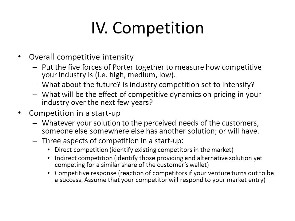 intensity of competitive rivalry marketing essay The intensity of rivalry between existing competitors in a market or industry depends on a number of factors it is important to be aware of these factors influencing intensity of competition, as it may influence the decision of entering a market or staying away of it.