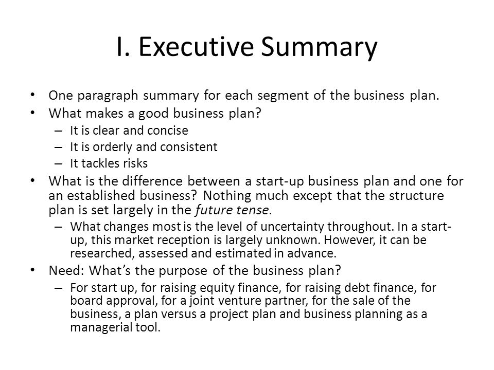 difference between business plan and executive summary