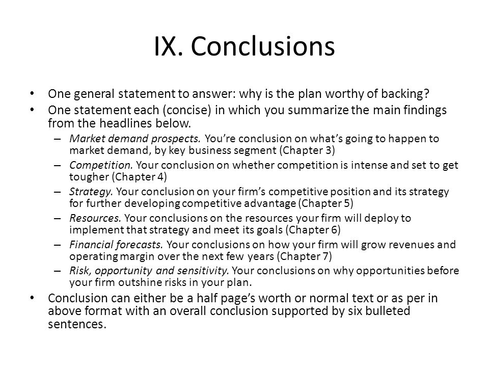 conclusion business plan