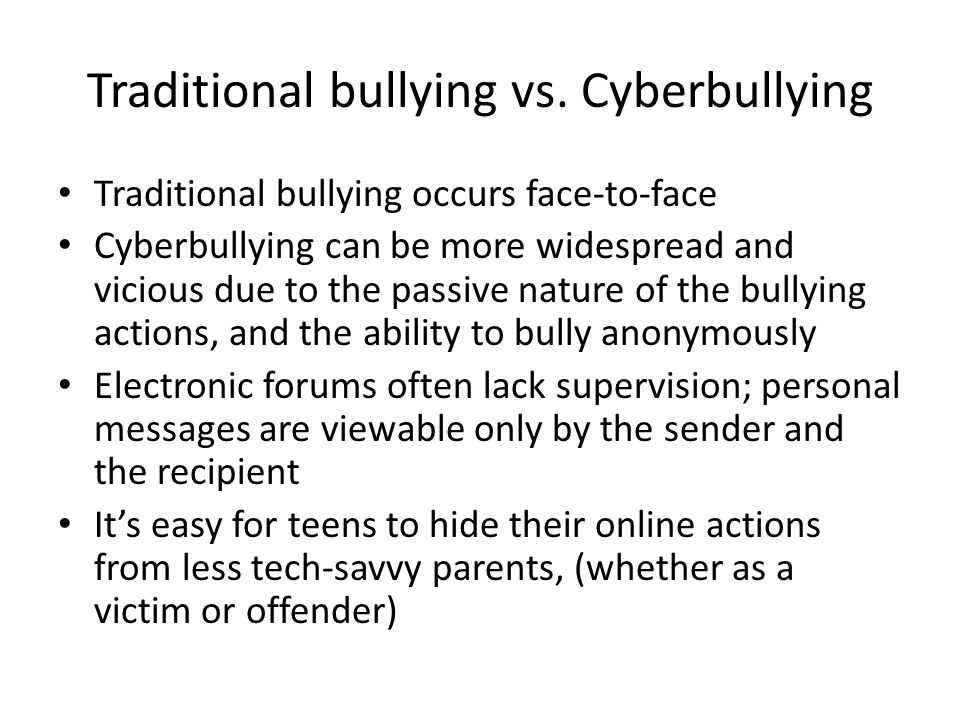 bullies vs victims Bullying is a big problem it can make kids feel hurt, scared, sick, lonely, embarrassed, and sad bullies might hit, kick, or push to hurt people, or use words to call names, tease, or scare them a bully might say mean things about someone, grab a kid's stuff, make fun of someone, or leave a kid.