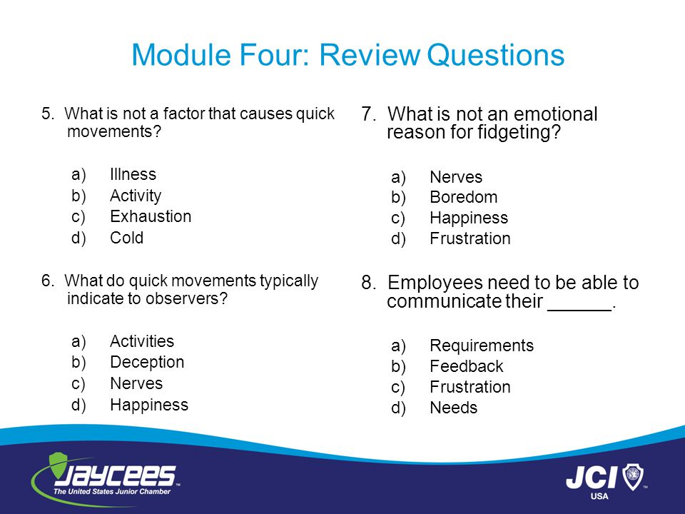 module 8 review questions These questions are kept in the question bank  the quiz module can display feedback and scores at different times during the quiz, using the review options in.