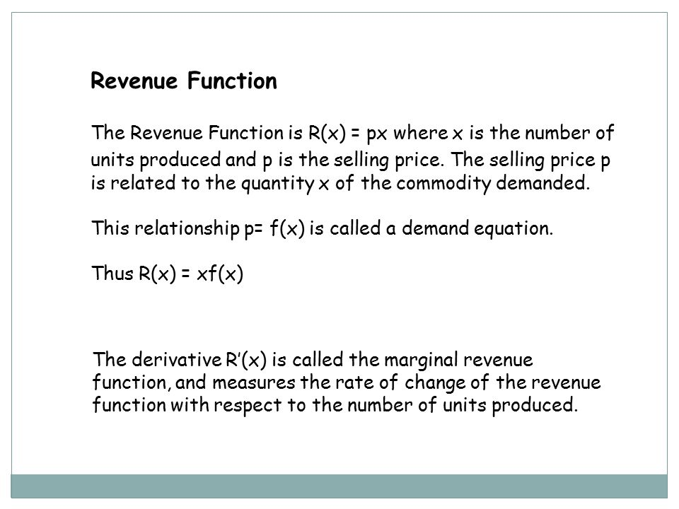 cost and revenue function 25 marginal cost and revenue 1 25 marginal cost and revenue we start this section by looking at possible graphs of the cost and revenue functions.