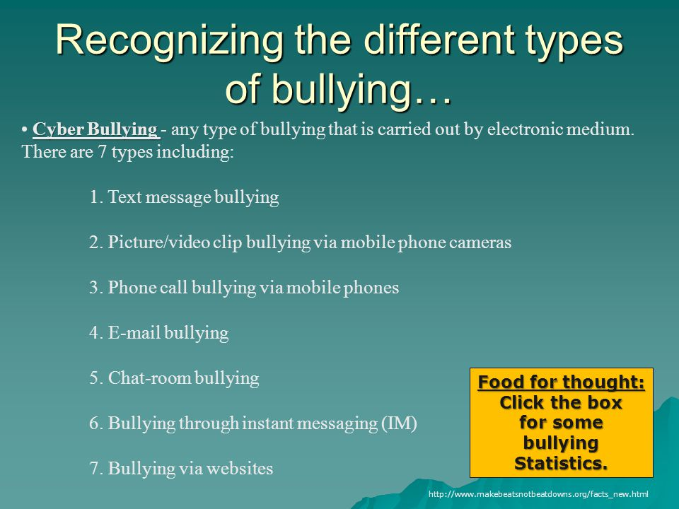 a study of the different forms of bullying Different forms of bullying and victimization: bully-victims versus bullies and victims.