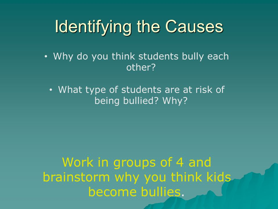causes of student bullying Litigating bullying cases: holding school districts and officials accountable • threatening to cause harm 2 if the bullying of a student who is gay or perceived to be gay can properly be characterized as a form of gender-based stereotyping, then title ix would apply 17.