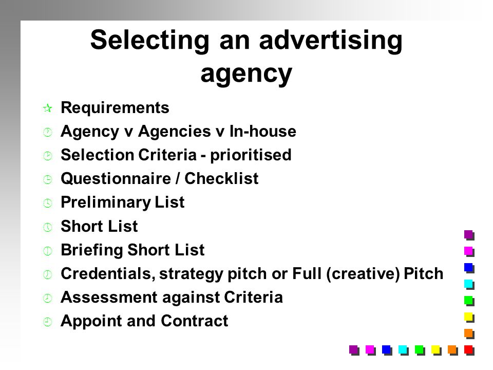 Selecting and evaluating advertising agencies ppt video for Advertising agency pitch