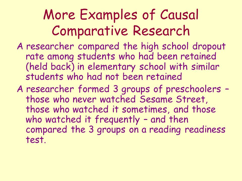 causal research examples Can improve our research designs and strengthen our causal conclusions   example of a nomothetic causal effect: individuals arrested for.