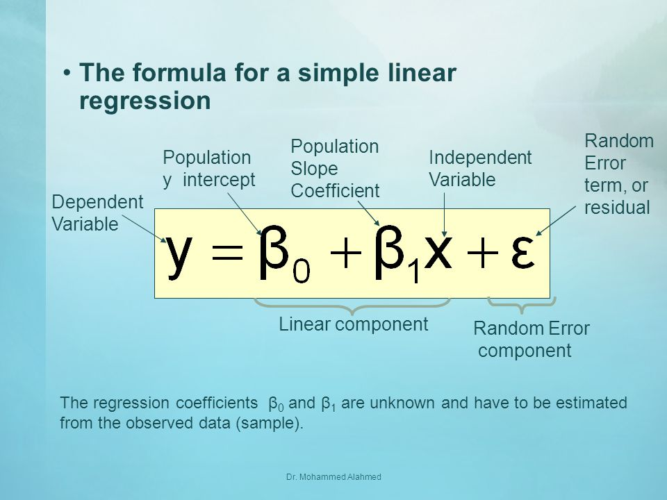 The formula for a simple linear regression