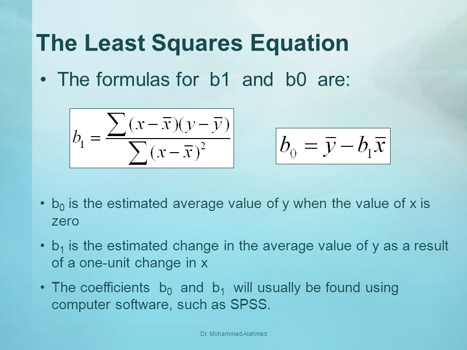 The Least Squares Equation