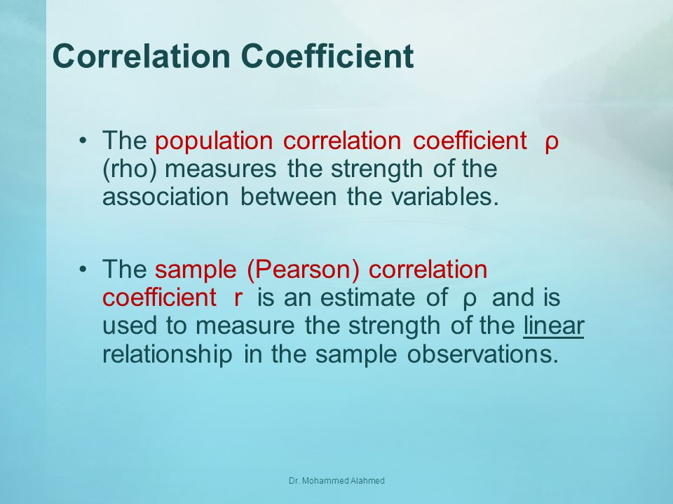 how to find correlation coefficient between two variables