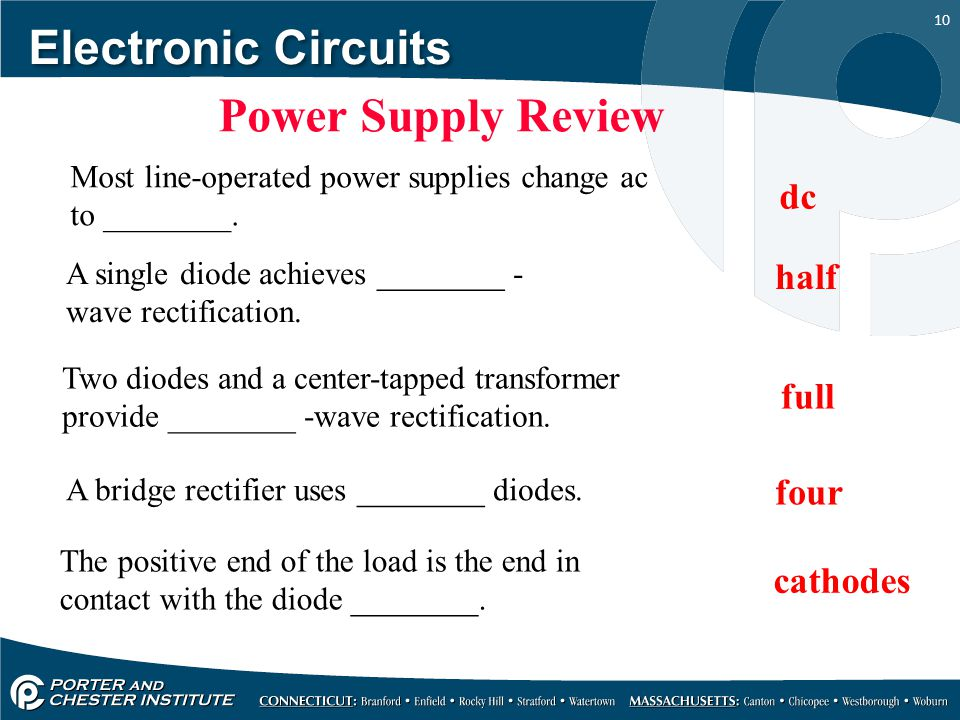 Electronic Circuits Power Supply Review dc half full four cathodes
