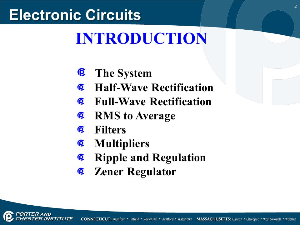 INTRODUCTION Electronic Circuits The System Half-Wave Rectification
