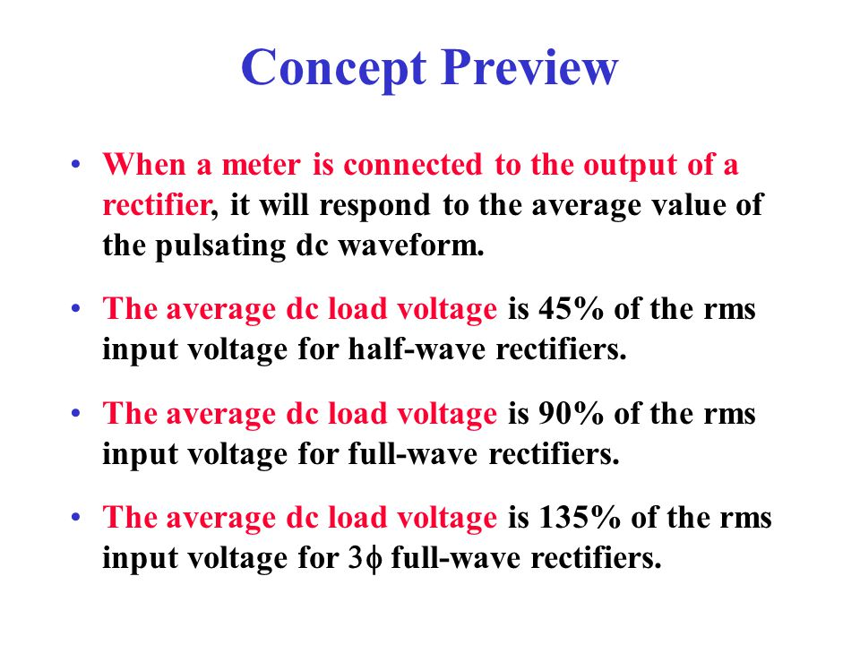 Concept Preview When a meter is connected to the output of a rectifier, it will respond to the average value of the pulsating dc waveform.