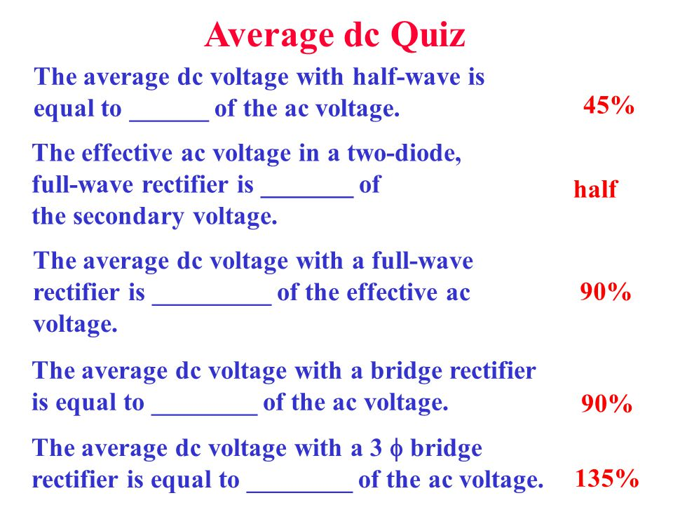 Average dc Quiz The average dc voltage with half-wave is