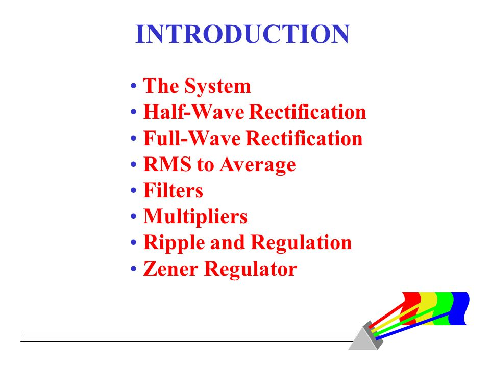 INTRODUCTION The System Half-Wave Rectification