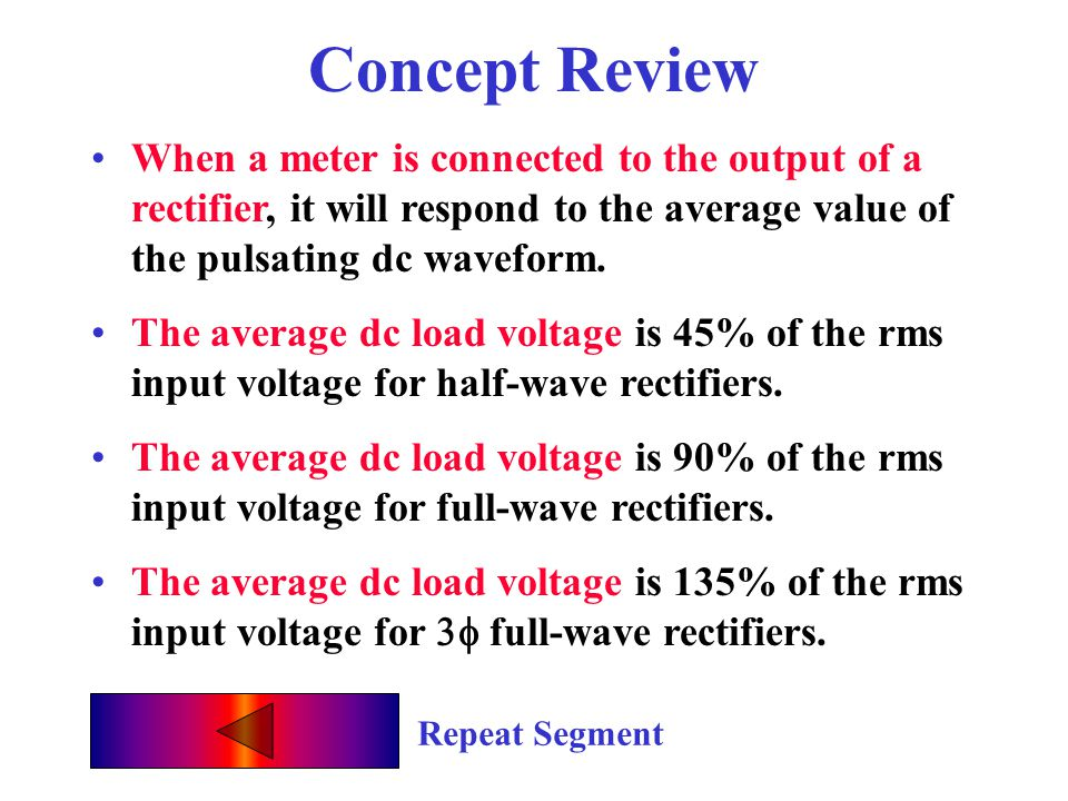 Concept Review When a meter is connected to the output of a rectifier, it will respond to the average value of the pulsating dc waveform.