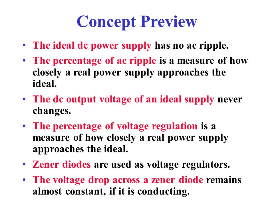 Concept Preview The ideal dc power supply has no ac ripple.