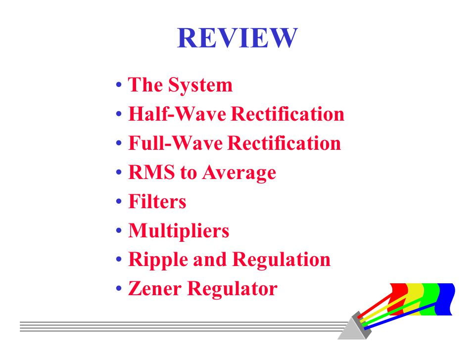REVIEW The System Half-Wave Rectification Full-Wave Rectification