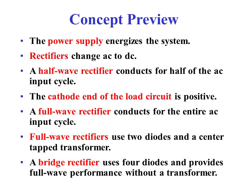 Concept Preview The power supply energizes the system.