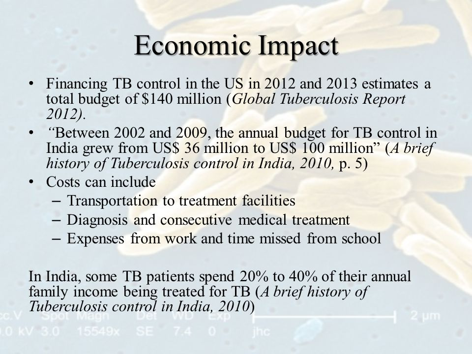 Economic Impact Financing TB control in the US in 2012 and 2013 estimates a total budget of $140 million (Global Tuberculosis Report 2012).