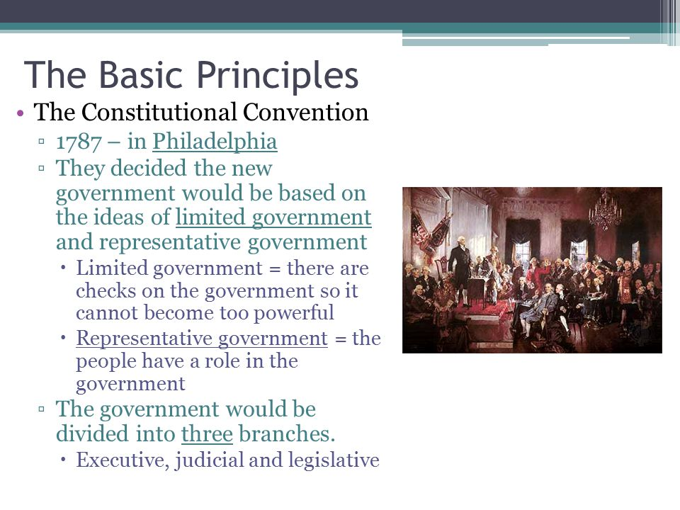 The Basic Principles The Constitutional Convention