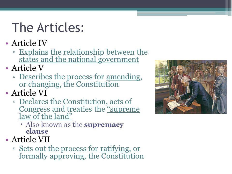 The Articles: Article IV Article V Article VI Article VII