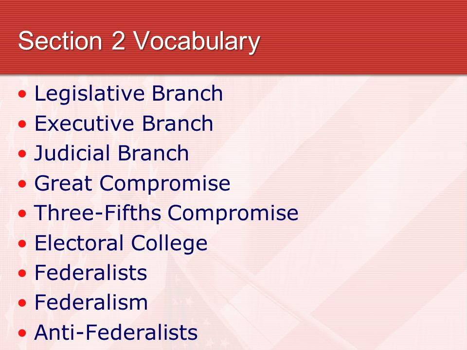 Section 2 Vocabulary Legislative Branch Executive Branch