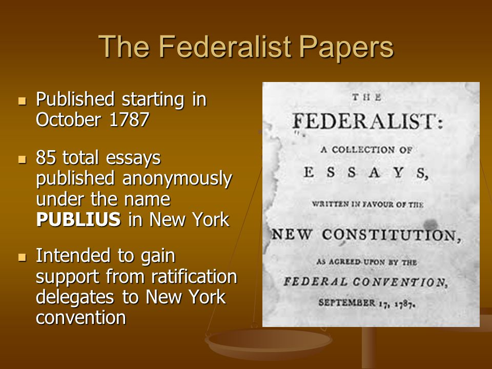 Essays urging ratification during new york
