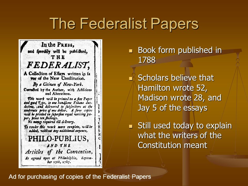 Federalist papers essays in defense of the constitution