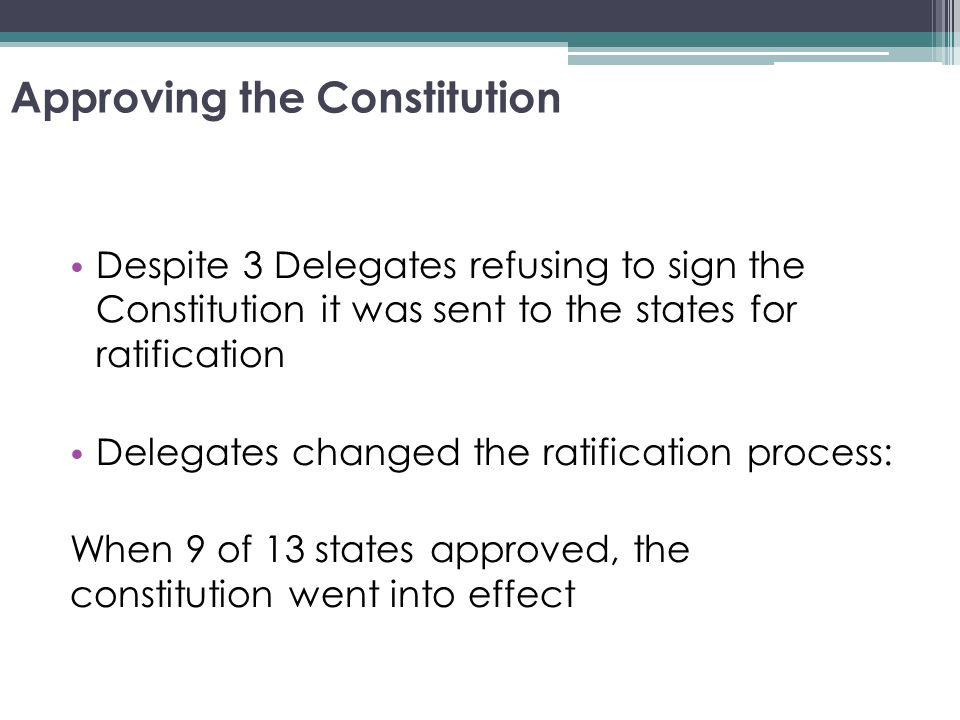 in the constitution today it delegates In order for the constitution to enter into force, it would have to be ratified by at least nine states, but several states threatened to refuse to ratify the document unless it included strong guarantees of individual rights and liberties to this end, the delegates, led by virginian james madison set to work on drafting a list of checks.