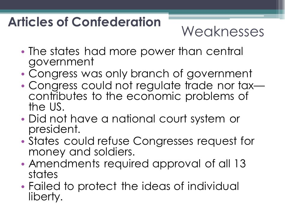 the financial crisis that came with the revolution and the articles of confederation America's first effort was the articles of confederation like the european union treaties, it guaranteed each citizen's right to move throughout the confederation and exercise all the economic privileges of home-staters.